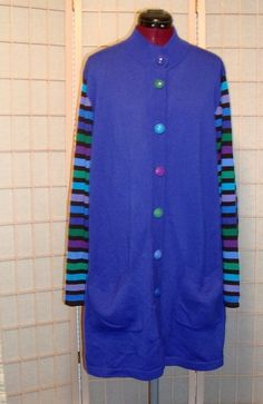 Bob Mackie Sz XL Extra Long Periwinkle Knit Cardigan Sweater W/ Colorful Sleeves #BobMackie #Cardigan