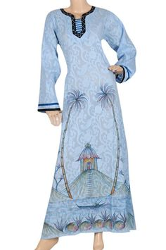 "aljalabiya.com: ""Bamboo Paradise"" Cotton jacquard kaftan with hand drawing and embroidery (N-13806-18) $68.00"