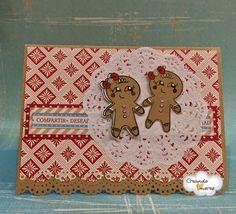 Simpática #tarjeta navideña con dos galletitas de jengibre!!#CreandoAmoresLive