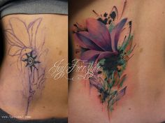 Tattoo flower coverup - When you look at the Before and After pictures, it's obvious where the old tattoo used to be. But for someone who just saw the new one, they would probably think there's no way it would conceal anything.