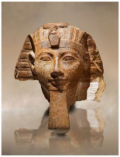 Ancient Egyptian statue head of Queen Hatshepsut or King Thutmose III. Ancient Egypt 18th Dynaty, 1460-1450 BC. |  © Paul E Williams 2013