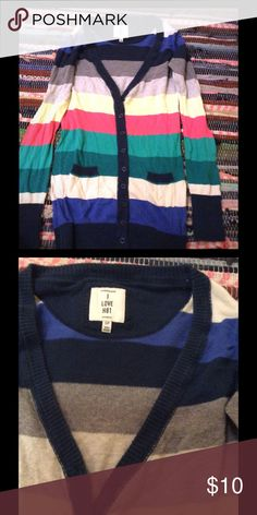 Multi colored sweater Fall is coming this sweater is super cute! In good condition and very soft and comfy! H81 Sweaters Cardigans