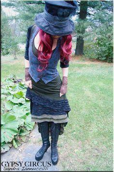SALE - Vest - Steampunk - Bohemian Tribal Vest - Floral Tweed - Dandy Style - Victorian - Gypsy Corset - Petticoat - Pixie Vest - Size Large