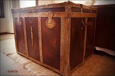 Antique trunk with rusty effect. Handpainted