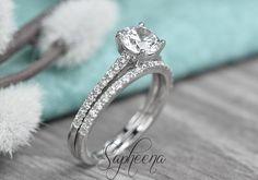 Brilliant Round Cut Engagement Ring with Half Eternity Band, Solid 14k White Gold, Set of 2, Dainty Wedding Set, Bridal Set of 2 by Sapheena by Sapheena on Etsy https://www.etsy.com/listing/518322506/brilliant-round-cut-engagement-ring-with