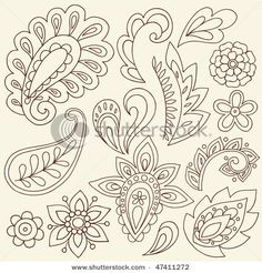Hand-Drawn Abstract Henna Paisley Vector Illustration Doodle Design Elements by via Shutterstock Motif Paisley, Paisley Design, Paisley Pattern, Paisley Doodle, Zentangle Patterns, Embroidery Patterns, Quilt Patterns, Zentangles, Paisley Embroidery