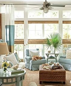Beachy, coastal interior design. living room. blue, seagrass