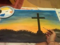 Diy cross sunset sky painting canvas