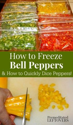 Use these tips for How to Dice and Freeze Bell Peppers to quickly and easily dice peppers in bulk. Then freeze peppers in usable portions for future use. Easy meal prep tips to help you prep-ahead for dinners on busy nights (easy meal ideas food prep) Freezing Vegetables, Freezing Fruit, Frozen Vegetables, Freezing Cheese, Freezing Carrots, Freezing Potatoes, Freezing Strawberries, Freezing Bell Peppers, How To Freeze Peppers