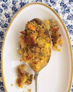 Cornbread and Sausage Stuffing by marthastewart: This sage-seasoned cornbread and sausage stuffing gets a creamy texture from the addition of eggs. This turkey stuffing can be assembled and refrigerated, baked or unbaked, for two days. #Stuffing #Cornbread #Make_Ahead  Get the Cornbread and Sausage Stuffing Recipe