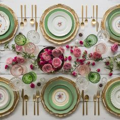 RENT: Florentine Chargers in White/Gold + Green Botanicals Vintage China + Rondo Flatware in Brushed 24k Gold + Green/Pink Vintage Goblets + Vintage Champagne Coupes + Antique Crystal Salt Cellars SHOP: Florentine Chargers in White/Gold + Rondo 24k Gold Flatware