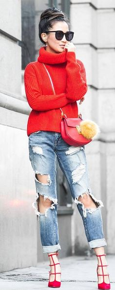 red and denim_sweater + bag + ripped boyfriend jeans + heels