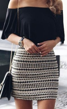 summer outfits Black Off The Shoulder Top + Printed Skirt