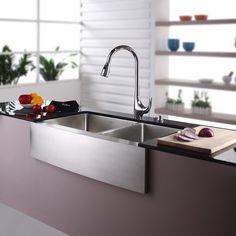 "Kraus 35.9"" x 20.75"" Double Bowl Farmhouse Kitchen Sink with Faucet & Soap Dispenser"