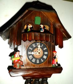 Nice Old Working German Black Forest 2 Tunes Music Dancers Chalet Cuckoo Clock