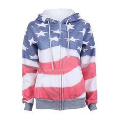 Grey America Flag Print Hooded Zip Up Sweatshirt - Sheinside.com
