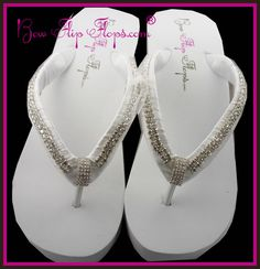 Bridal Wedge Flip Flops with ULTIMATE BLING and Sparkle - with Diamond chain beading and emerald cut rhinestones embellishment. Fabulous!