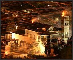 """Every Easter Sunday Eve, two rival churches in Vrondados, Greece engage in a """"rocket war"""" with the aim to hit the other's belltower; they use up to 80,000 fireworks in the display."""
