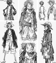 Croquis Pirates de la Bande ~ Équipage Pirate : Chapeau Paille ⭐ Capitaine : Luffy Monkey D. ⭐ Navire : ⛵ Sunny Thousand ⛵ ~ ⚓_Øne_Piece_⚓ ~ [✨GiF✨]