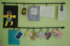Displaying Children's Artwork - using a curtain rod