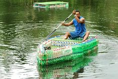 #recycled plastic #bottles as a boat or a dock (in the background)