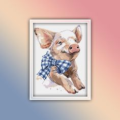 Pig Cross Stitch Pattern 4 Instant PDF Download - Potbelly Pig Watercolor Cross Stitch Pattern - Piggy Blue Poppy, Extra Fabric, Flower Patterns, Color Change, Cross Stitch Patterns, Free Images, Poppies, Craft Supplies, Free Pattern