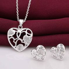 online shopping india silver jewelry set heart hollow web Necklace+earrings prices in euros #Affiliate