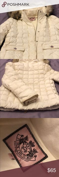 Cream White Juicy Couture Winter Jacket Size L Cream White Juicy Couture Winter Coat. Used. Women's size Large. Fur trim hood & pockets. Very warm for cold weather. Let me know if you have any questions and check out the rest of my closet. Thanks for visiting and have a good day :) Juicy Couture Jackets & Coats Puffers