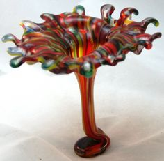 Fused Glass Drop Vase - Orange and Green Flower.