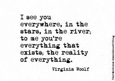 I see you everywhere, in the stars, in the river, to me you're everything that exists; the reality of everything. Virginia Wolf