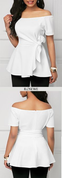 Sewing Blusas Short Sleeve Belted Off the Shoulder White Blouse - Short Sleeve Belted Off the Shoulder White Blouse Beautiful Outfits, Cool Outfits, Casual Outfits, Look Fashion, Womens Fashion, Fashion Design, White Short Sleeve Blouse, Trendy Tops For Women, African Fashion