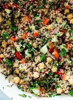 Meet my go-to quinoa salad recipe! This quinoa salad is quick and easy to make and SO GOOD. Get the recipe at cookieandkate.com