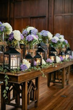Church Ceremony Decorations Lanterns Wedding Centerpiece / http://www.himisspuff.com/beautiful-hydrangeas-wedding-ideas/4/
