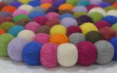 Felt Ball rug pom pom rug hand made freckle by LUZAmadewithlove
