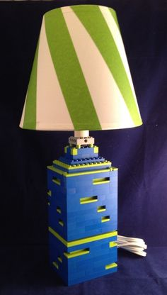 Blue LEGO Lamp With Lime Green Dimensional Accents By BrickABlocks