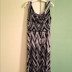 Black and White Chevron Maxi Dress Cute dress.  Hard to get it all in the photo. Definitely floor length. AB Studio Dresses Maxi