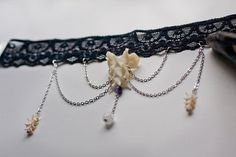 Lace choker cat snake bone vertebrae crystal by ScavengerNest