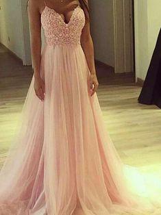 73716a56117 Sommerkleid Ballkleid süßes Abendkleid V-Ausschnitt Tüll rosa  A-Linie Princess-Linie OP758