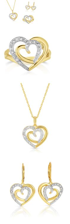 2ba1e4408 Other Fine Jewelry Sets 164328: Natalia Drake Genuine Diamond 3Pc Heart Set  , With Ring