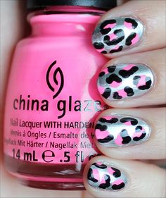 Silver, Black & Neon Pink Leopard Nails
