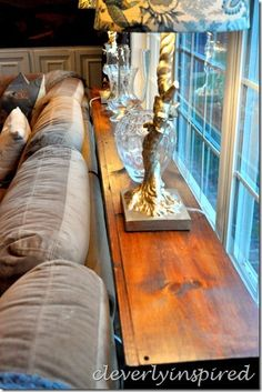 DIY sofa table @cleverlyinspired (11)  Lots of storage too