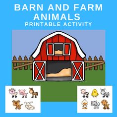 Barn and Farm Animals Printable Activity - This barn and farm animals printable can be used in a variety of ways during the farm theme. Circle Time Activities, Farm Activities, Animal Activities, Preschool Activities, Preschool Printables, Farm Theme Crafts, Barn Crafts, Farm Animal Crafts, Farm Animals For Toddler