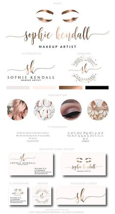 Makeup Logo Design Lashes Logo Design Rose gold Branding