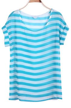 #Blue Short Sleeve Striped Chiffon T-Shirt  #fashion #spring #trends #stripes #bluespa