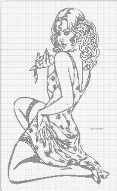 0 point de croix sexy girl - cross stitch