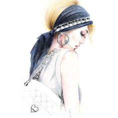 Colored Pencil Drawing, Fashion Illustration Chanel Chic ($22) ❤ liked on Polyvore featuring home, home decor, wall art, white drawing paper, white wall art, chanel home decor, chanel and white home decor