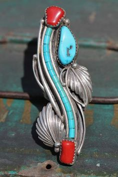 Vintage Southwestern Tribal Navajo Style Sterling Silver Turquoise Coral Ring