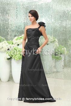 Black One Shoulder Ruffles Taffeta Summer Evening Gown - Fannybrides.com Discount Prom Dresses, Evening Dresses, Formal Dresses, A Line Gown, Floor Length Dresses, Summer Evening, Dress P, Chic Wedding, Ruffles