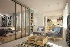 Instead of shelving, this home uses sliding glass doors to separate the bedroom from the living area.