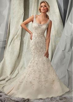 Buy discount Glamorous Organza Scoop Neckline Natural Waistline Mermaid Wedding Dress With Embroidered Beadings at Dressilyme.com